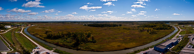 Panorama of Fermilab's Tevatron taken late in the morning on Septermber 30, 2011 with the final proton-antiproton store colliding 30 feet below ground.