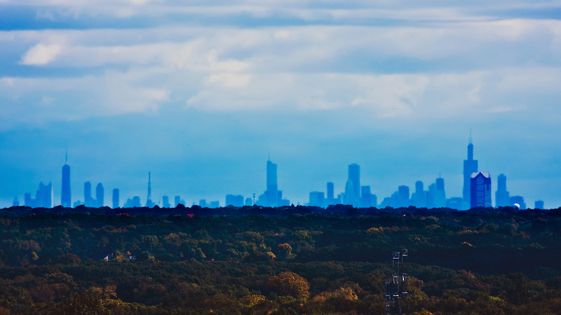 The city of Chicago skyline from roughly 45 miles away as seen from atop Fermilab's Wilson Hall.