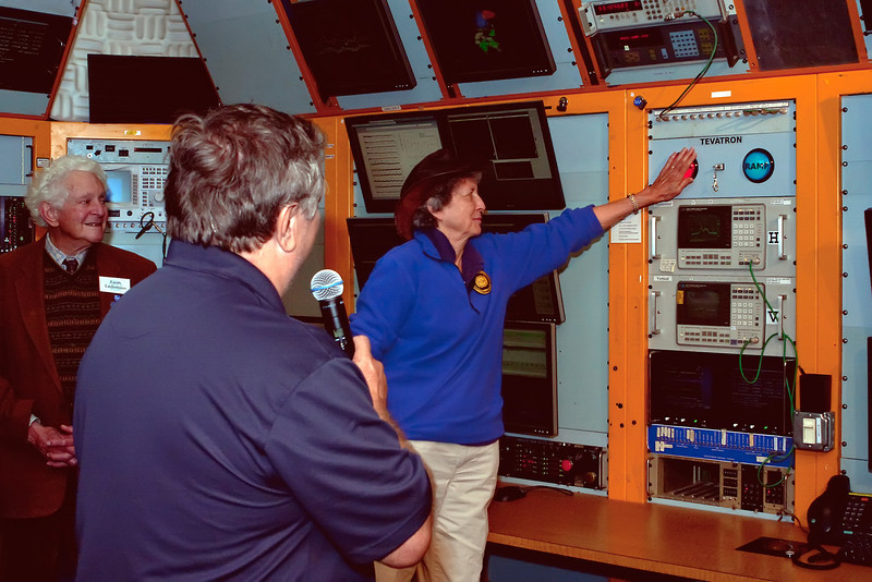 Fermilab's second director and 1988 Nobel Prize Laureate Leon Lederman (left) and Bob Mau watch as Dr. Helen Edwards terminates the final beam in the Tevatron collider in the Fermilab Main Control Room on September 30, 2011.