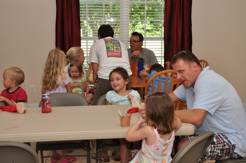 Kids and parents enjoy ice cream social.