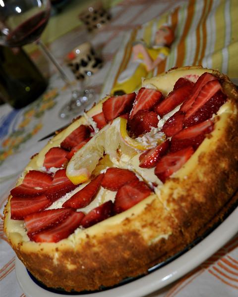La Vita E Bella- My sister Rose baked her famous ricotta lemon cheescake with fresh NC strawberries!