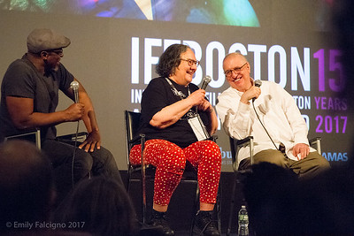 WGBH Journalist, Phillip Martin, hosts the Q&A for The B-Side, Errol Morris's birthday present to Photographer Elsa Dorfman at the Independent Film Festival Boston. Dorfman and Morris's animated responses lit up the Brattle Theatre in Cambridge.