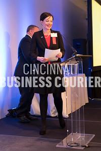 Jennifer Mott (First Financial Bank) preparing to present awards (M)
