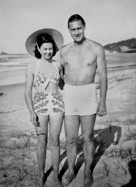 1950-08_Josie_Peter Edmonds_Fingal Beach.jpeg<br /> <br /> On their honeymoon in Northern NSW