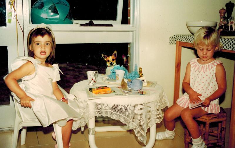 1991-03-19 Rebel Egan_Lyndall Edmonds_2.jpg<br /> <br /> Cousins enjoying a tea party together