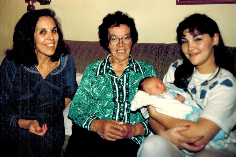1989-05-02_Dolores Pitcher_VaVa_Brandon_Pam Kurz.jpg<br /> <br /> Three generations of Tacheiras - Dolores, VaVa Tacheira and Pam Kurz with Brandon