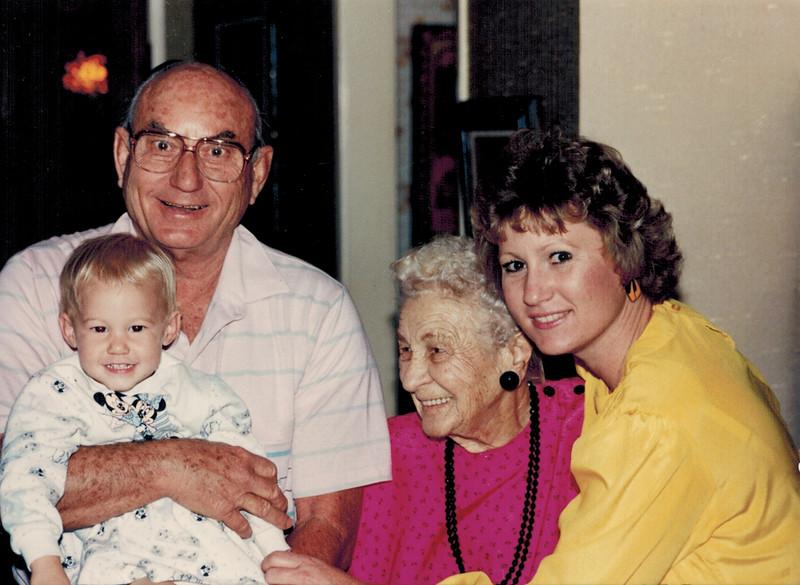 1989-11-11_Don Wichner_Lyndall_Kate Meyer_Diane Edmonds.jpg<br /> <br /> Aunt Kate's 90th birthday - four generations!