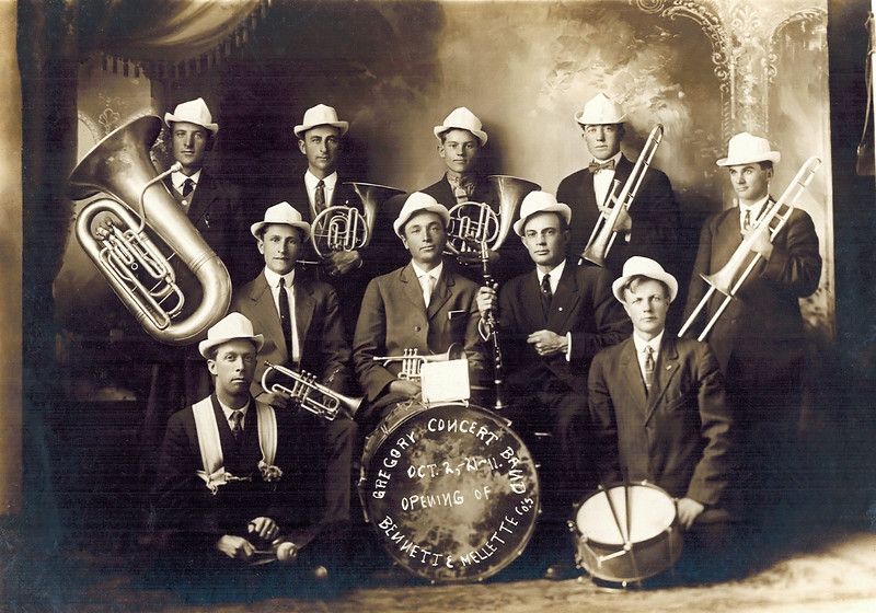 1921-01-02_Gregory Concert Band_Alfred Wichner back row2nd right.JPG<br /> <br /> My grandpa, Alfred Wichner, back row, 2nd from right.  Back row:  Tuba, 2 French Horns, 2 Trombones.  Front row:  Bass Drum, 2 Cornets, Clarinet, Snare Drum