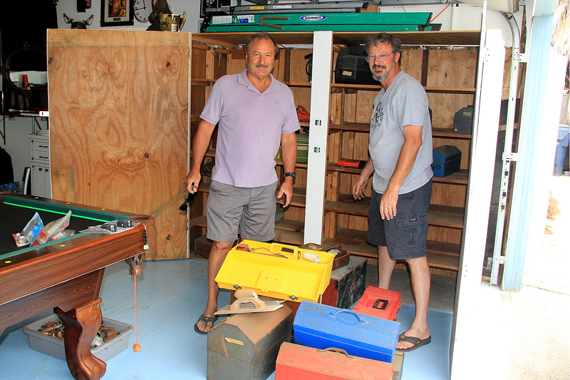 2016-06-25_Keith Wichner_John Pitcher Jr._3687.JPG<br /> <br /> Keith and my nephew, John Pitcher, Jr., cleaning out the last of my dad's beloved tools from the back garage on 12th St.