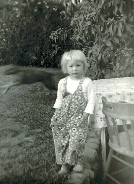 1957-12_Diane Wichner_2 yrs.JPG<br /> <br /> Me at around age 2, looks like maybe our Boxer, Pokey, running in the background