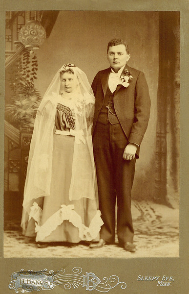 1858 ?_Emma Stebbe_William Zielke.JPG<br /> <br /> Wedding photo of the mother and father of Otillie Bertha Zielke (Wichner).  Otillie was the mother of William, Emil Henry, Herman, Alfred, Elmer, Ernest, Lydia and Walter Wichner.  Date is estimated, assuming their first child was born in 1860.