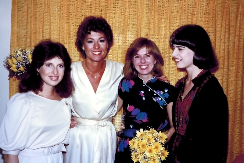 1982-05-08_Lori_Donna_Therese_Holly.JPG<br /> <br /> Wedding of Donna & Steve Carlson.  Donna with Steve's sisters and sister-in-law