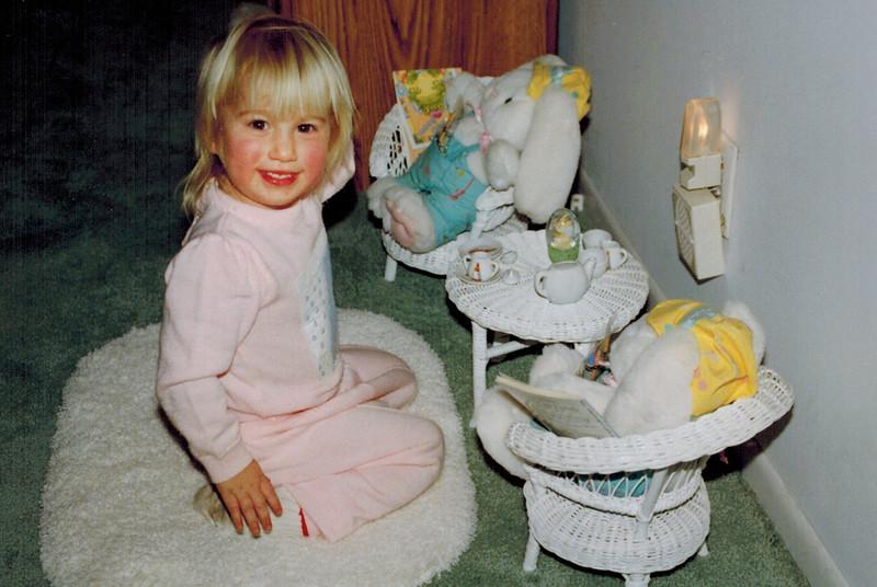 1992-11-17_Kelsey Wichner.jpg<br /> <br /> Kelsey having a tea party with Nanci Shea's stuffed bunnies