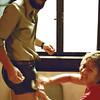 1979-09-03_Florence_Jeff_Diane.JPG<br /> <br /> Polishing Jeff's infamous leather shorts!