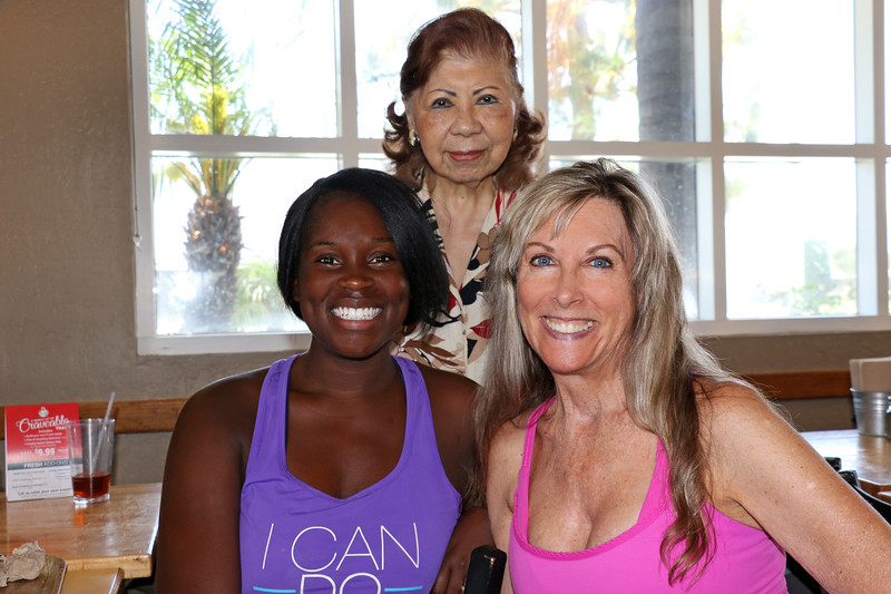 2019-07-10_19_Shay's Farewell_Shay_Elaine_Kathleen.JPG<br /> Shay Turner's last day teaching Senior Fit at LA Fitness