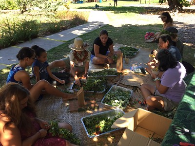 More lei makers at work (Photo by Shannon Paapanen)