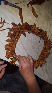 "To finish, push the unworked end through the loop, and tie with an overhand knot. A lei about 36"" long requires about 120 malo 'ulu."