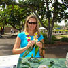 We did have a few people stop and try making ti leaf lei, though.