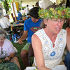 Tracey, our lei-making expert in front, Irene Newhouse at left