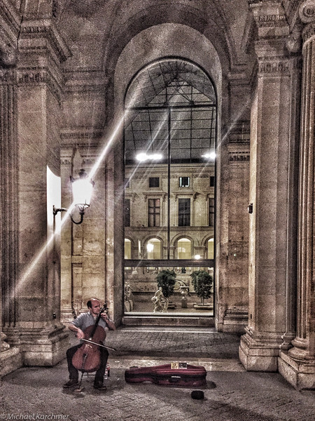 "Michael Karchmer, ""Street Musician, Late Night at the Louvre,"" iPhone 6+"
