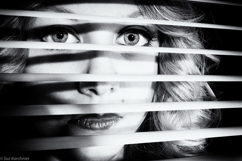 "Suz Karchmer, ""Through the Blinds [Noir],"" Nikon D800"