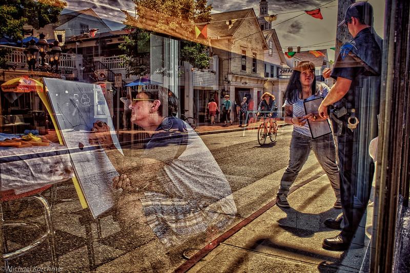 Ptown Artist thru Storefront Window; Street Scene in Reflection