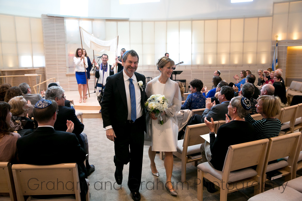 Walking down the aisle at Temple Akiba