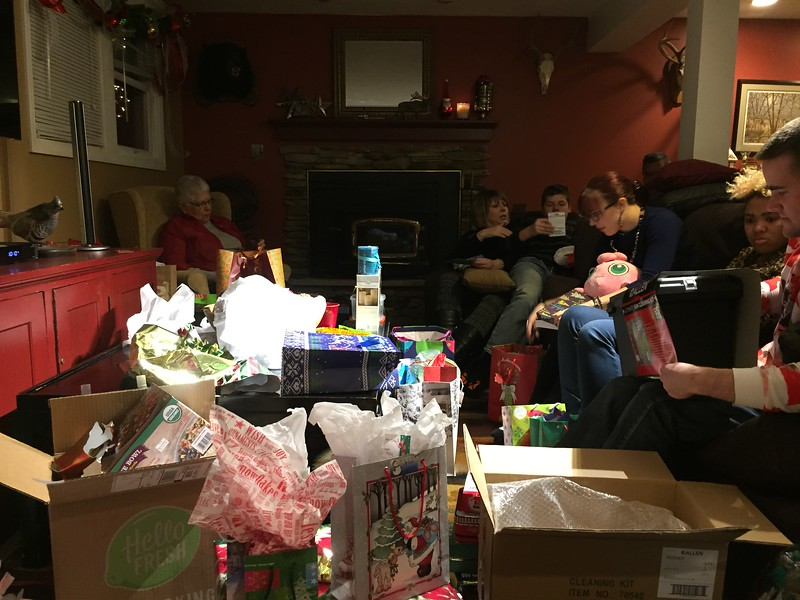 Opening presents -- Schultz's exchanging their gifts together