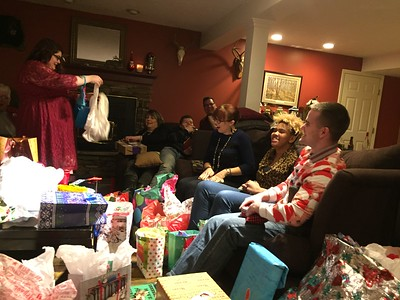 Samantha opening her annual underwear from Grandma!