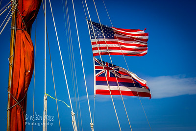 The Unites States and State of Hawaii flags proudly displayed