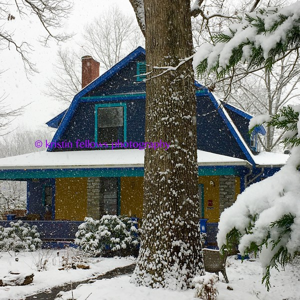 the scandinavian farmhouse in the snow