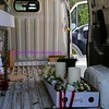 inside the wedding flowers van