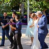 led by strolling musicians, the bride arrives with her parents