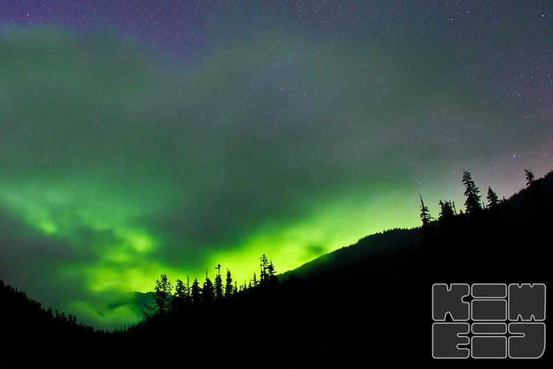 Aurora captured at Goldmine Lake, in BC Canada