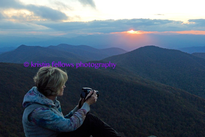 kristin taking pictures at sunset on craggy
