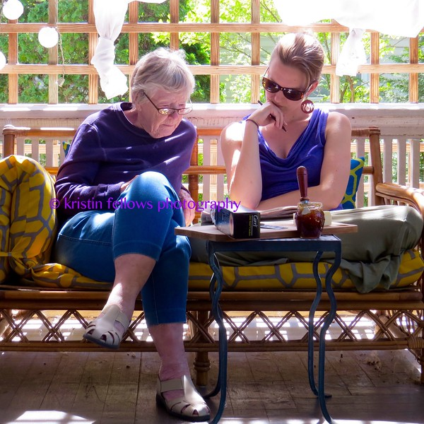 crossword puzzling on the porch