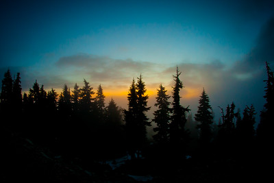 Clouds rolling through a sunset on Blackcomb Mountain