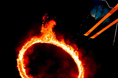 These amazing riders jump through a ring of fire every week as part of the 'Fire and Ice' show in Whistler Canada.