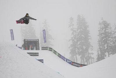 A snowboarder competing in the Telus Ski and Snowboard festival