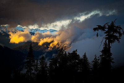 Clouds rolling thru a sunset on Blackcomb mountain
