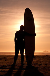 Surfing in Tofino on Vancouver Island, Canada