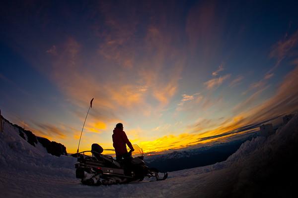 A self portrait taken on Blckcomb glacier as the sun set