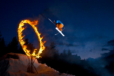 These amazing riders jump through a ring of fire every week as part of the 'Fire and Ice' show in Whistler Canada