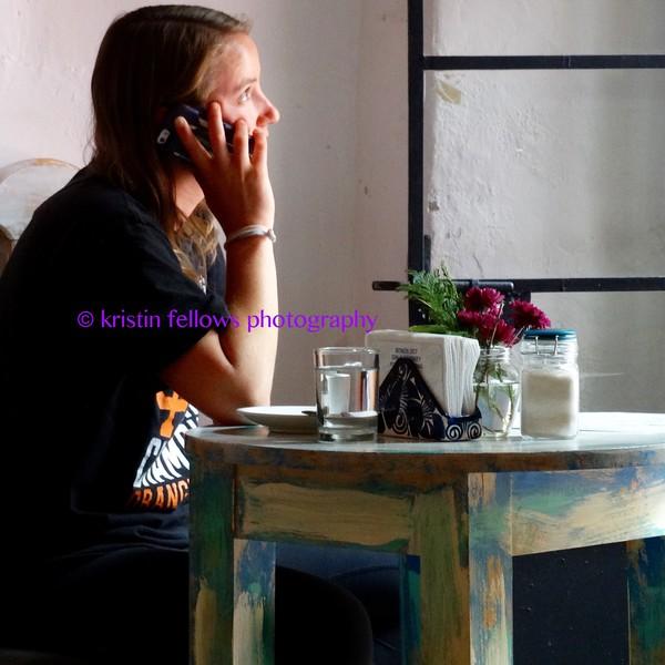 portrait in a café