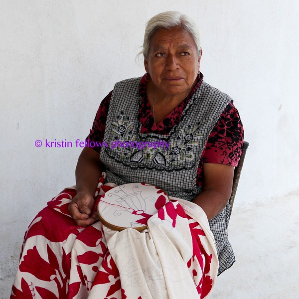 each day she sits in this chair, patiently stitching beautiful embroideries that visitors to atotonilco will hopefully buy