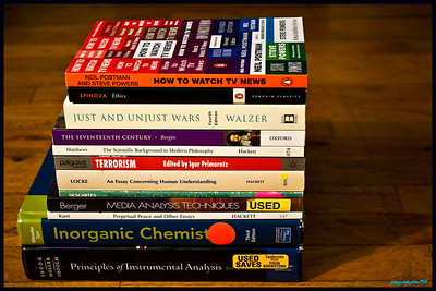 Books for one semester of classes. Wanted to stress the variety of colors and texts.