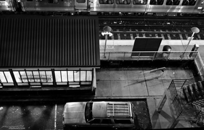 Huntington Train Station, greyscale with tons of contrast