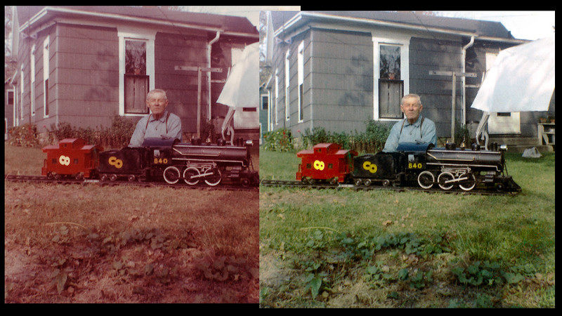 My grandfather with the train he build from scratch.
