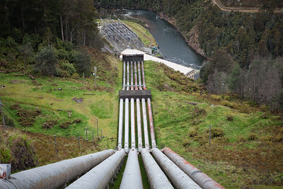 Piping leading to the Tarraleah power station, one of Tasmania's many hyro electric power stations providing electricity to more than 90% of Tasmania