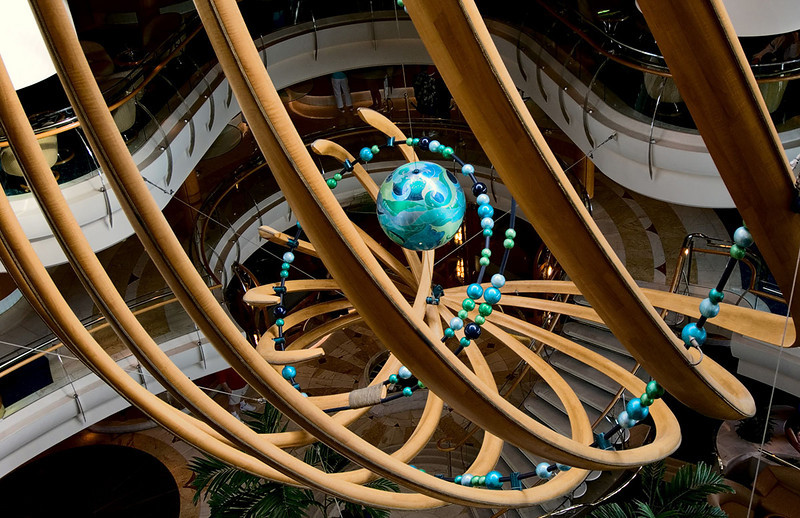 Sculpture thingy suspended in the main atrium of a Regent Seven Seas cruise ship.